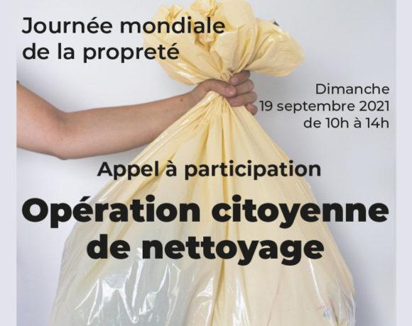 Journée mondiale de la propreté : Opération citoyenne de nettoyage
